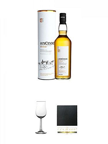 AnCnoc 12 Jahre Single Malt Whisky 0,7 Liter + Whisky Nosing Gläser Kelchglas Bugatti mit Eichstrich 2cl und 4cl 1 Stück + Schiefer Glasuntersetzer eckig ca. 9,5 cm Durchmesser