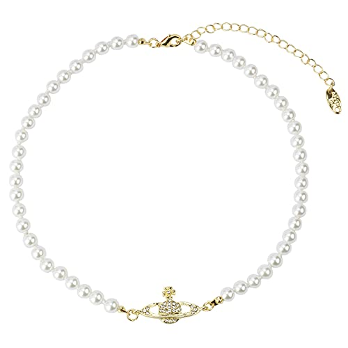 Kette,Halskette, Halsketten , Damen Halsketten , White Planet Pearl Halskette Gold