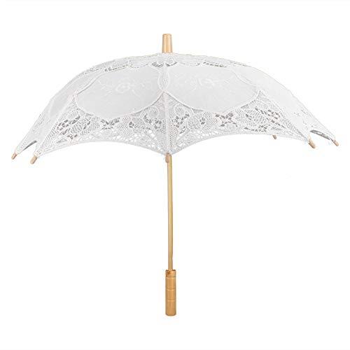Cosiki Paraguas de Boda, Paraguas de Encaje Celebraciones de Bodas(Beige, Large)