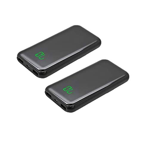 2 Pack 10000mah Ultra Slim Smallest Lightest LED Display Portable Charger High-Speed External Battery Pack High Capacity 4.8A 2 USB Ports Power Bank for Phones Tablets