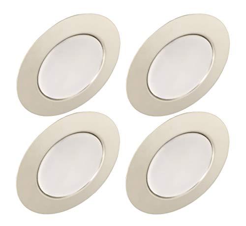 Trango Conjunto de 4-12V AC/DC Foco empotrable para muebles LED, luz empotrada, luz de techo TGG4E-048 en cromo para reemplazar luces de muebles convencionales G4 luces de campana de cocina