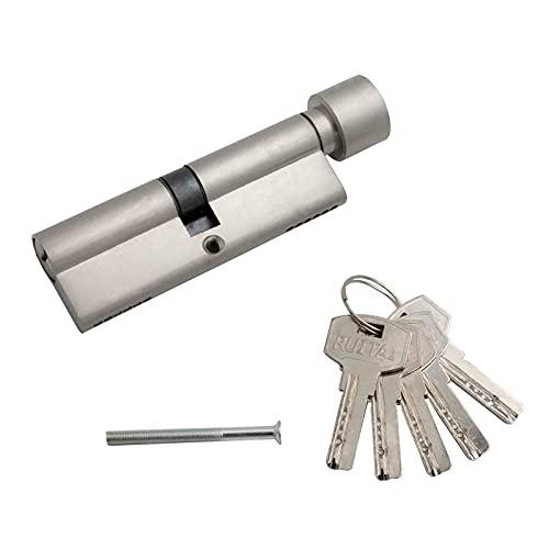 Schließzylinder 40/40 zylinderschloss profilzylinder türschloss haustür zylinder haustürschloss mehrfachverriegelung schloss mit 5 Schlüsseln 80 mm mit Knauf Silber