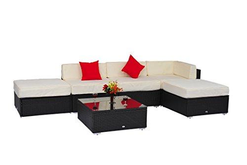 Hot Sale Deluxe Outdoor Rattan Garden Wicker 6-Piece Sofa Set Patio Sectional Furniture