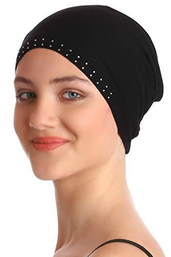 Deresina Headwear Wesentliche Baumwollkappe mit Steinen (Schwarz)