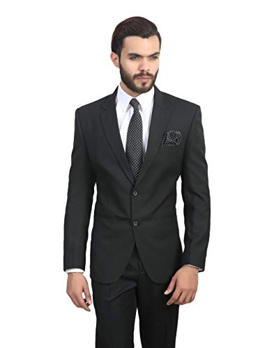 MANQ Men's Slim Fit Single Breasted Blazer (BL-101-40_Black_40)