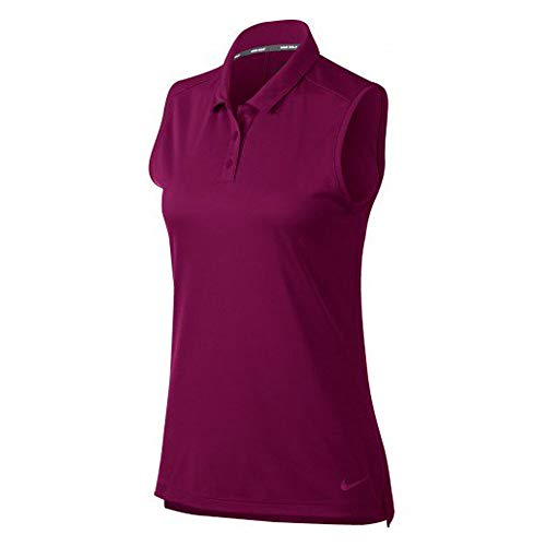 Nike Damen Dri-Fit Ärmelloses Poloshirt, True Berry, M