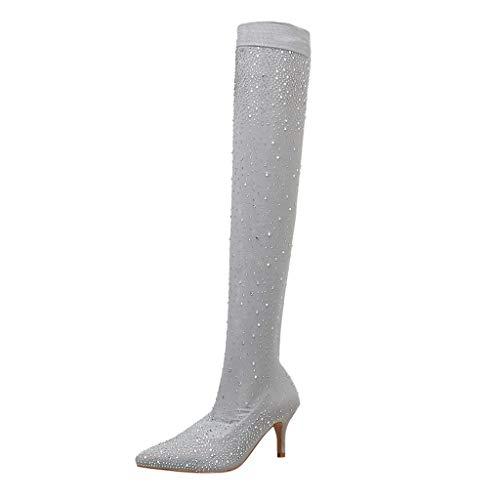 OYSOHE Damen High Heel Schuh Lederstiefel Dicker Absatz Mid-Tube Stiefel (38.5 EU, ZA-Grau)