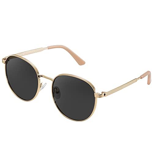 Carfia Unisex Polarisierte Damen Sonnenbrille UV400 Retro Runde Brille für Fahren Golf
