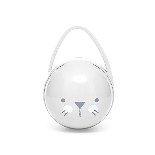 Suavinex - Portachupete Premium Bebé para Llevar 2 Chupetes, Caja Portachupetes Portátil, Funda para Chupetes, Color Whiskers Gris