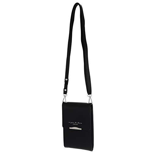 Amosfun Cruz cuerpo teléfono celular bolsa mini teléfono móvil bolso de hombro negro pu cuero mujeres hombres bolso bolsa de mensajero adulto