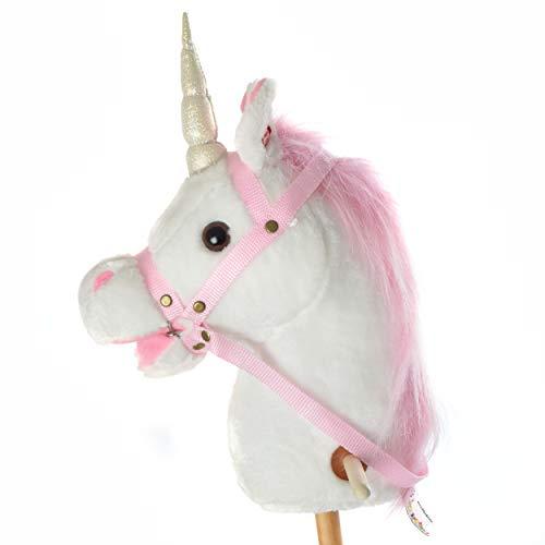 Pink Papaya Cavalluccio con Bastone, Einhorn, splendido Cavallo Giocattolo di Peluche con Funzione Sonora: nitrito e Suono del Galoppo - Colore: Bianco con criniera Rosa