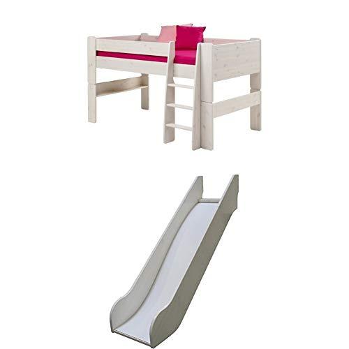 Steens For Kids Kinderbett, Halbhochbett, inkl. Rutsche, Absturzsicherung und Leiter, Liegefläche 90 x 200 cm, Kiefer massiv, weiss
