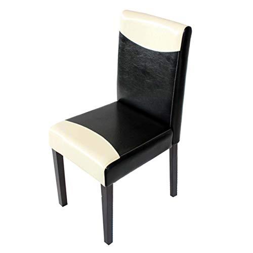 Mendler Esszimmerstuhl Littau, Küchenstuhl Stuhl, Kunstleder - schwarz/weiß, dunkle Beine