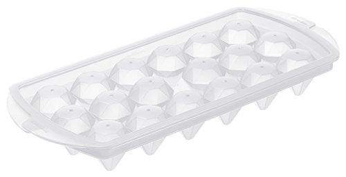 Rotho 1708600096 Eiswürfelform Diamond mit Deckel aus Kunststoff-PP, für 18 Eiswürfel in Diamant-Form, 26,3 x 12,2 x 2,5 cm, transparent
