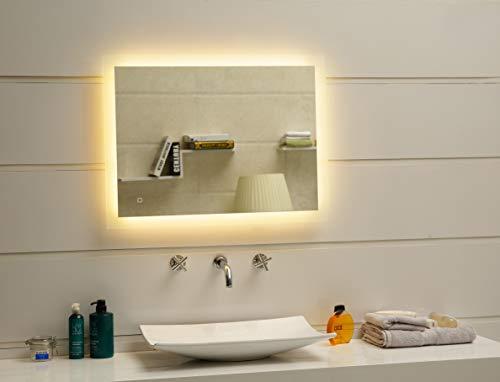 Dr. Fleischmann Badspiegel LED Spiegel GS084N mit Beleuchtung durch satinierte Lichtflächen Badezimmerspiegel 80 x 60 cm mit Touch-Schalter