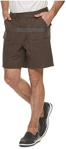 Croft & Barrow Side Elastic Relaxed Fit Cotton Cargo Shorts (Demitasse, 29)