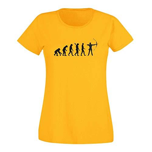 T-Shirt Evolution Bogenschütze Kyudo FITA Robin Hood 15 Farben Damen XS - 3XL IFAA DBSV Sport 3D-Schießen Langbogen Zielscheibe Pfeil Jagd, Größe:2XL, Farbe:gelb - Logo schwarz