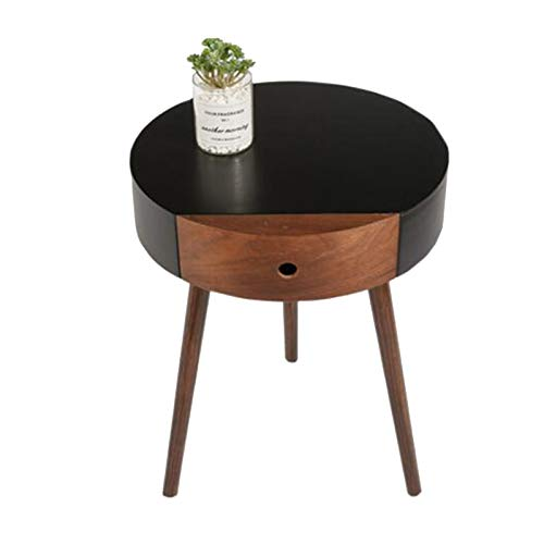 Jcnfa-Tables Italian Minimalist Bedside Table, Furniture with Drawers, Sofa Solid Wood Table Leg Side Table, (Color : Black, Size : 18.1118.89in)