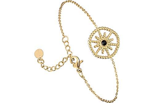 IKITA Luce chain bracelet, gold plating, rhinestone, black