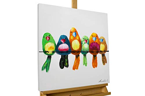 KunstLoft® Acryl Gemälde 'Bunte Bande' 60x60cm | original handgemalte Leinwand Bilder XXL | Modern Vögel AST Bunt Beige | Wandbild Acrylbild Moderne Kunst einteilig mit Rahmen