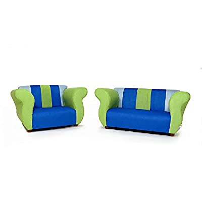 Fantasy Furniture Sofa and Chair Fancy Set, Blue/Green