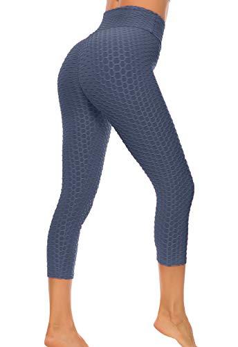 FITTOO Pantaloncini Corti 3/4 Donna Capri Sport Leggins Sportivi Ginnastica Push up Alta Elastico per Fitness Yoga Blu Navy M