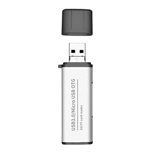 A0127 - Lector de Tarjetas de Metal, 2 en 1, Tarjeta de Memoria USB 3.0 / Micro USB a SD/Micro SD Tablet para teléfono móvil Samsung Macao Xiaomi para MacBook Plateado Plata