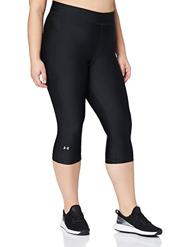 Under Armour UA Heatgear Leggings, Mujer, Negro (Black/Black/Metallic Silver (001), L