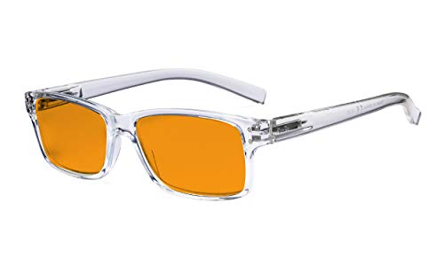 Eyekepper Lunettes de protection contre la lumière bleue Hommes Femmes - Anti-reflet numérique rondes ovales à rayons UV avec lentille filtrante teintée orange - Monture Transparente +1.25