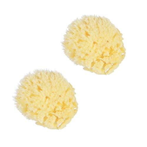 Lurrose 2pcs éponges de bain éponge de mer jaune doux en nid d'abeille naturelle pour le visage de lavage bébé douche et soins du corps