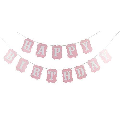 DIWULI, Happy Birthday slinger om op te hangen, spreukenband, wimpel-kettingopschrift, verjaardagsslinger, verjaardagsbanner voor verjaardagsfeest, tuinfeest, motto party, decoratie Banner roze