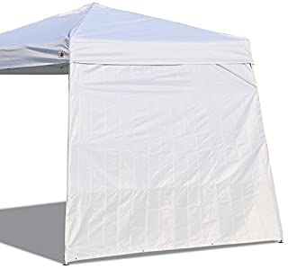 ABCCANOPY 15+Colors 10' Sun Wall for 10'x 10' Straight Leg pop up Canopy, 10' Sidewall kit (1 Panel) with Truss Straps (Slant White)