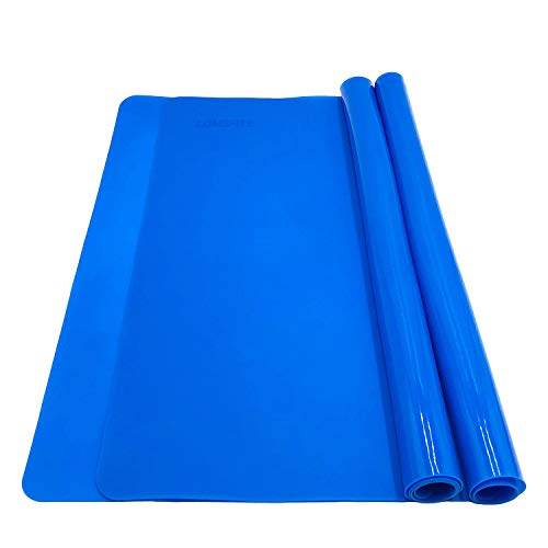Silicone Baking Mats for Dough Rolling Pastry Fondant Mat Large Nonstick and Nonslip, Countertop Protector, Dining Table Mat and Placemat 20'' by 16''(Blue 2 Pack)