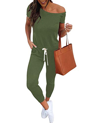 Women's Summer Casual Off Shoulder Short Sleeve Beam Foot Beach Jumpsuit Rompers with Pockets A28-junlv-L