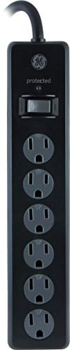 GE Power Strip Surge Protector, 6 Outlets, 4ft Power Cord, Flat Plug, 800 Joules, Safety Locks, Multi Outlet, Wall Mount, Black, 33659