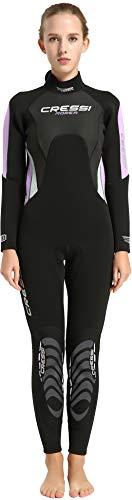 Cressi Morea Lady Monopiece Wetsuit 3mm Traje de Buceo Neopreno, Mujer, Negro/Lila/Plata, L/4