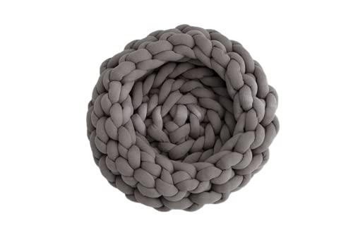 GYROHOME Nido circular anudado gris oscuro para mascotas, suave y suave, utilizado para dormitorio, sala de estar, sofá, cama