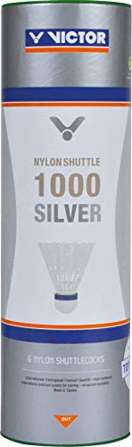 VICTOR Nylon Federball Shuttle 1000 6er Dose, Gelb / Blau