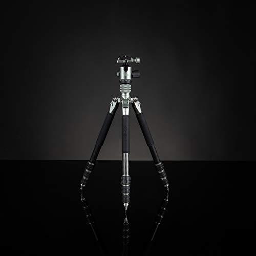 Rollei Lion Rock Traveler S, trípode de Carbono Capacidad de Carga de 10 KG, Incl. Cabeza de trípode y Clavos. Ideal para Viajes y fotografía Natural