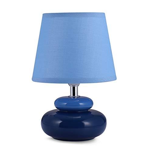 Lampada da tavolo 'Julia' in ceramica con 2 pietre (blu scuro)