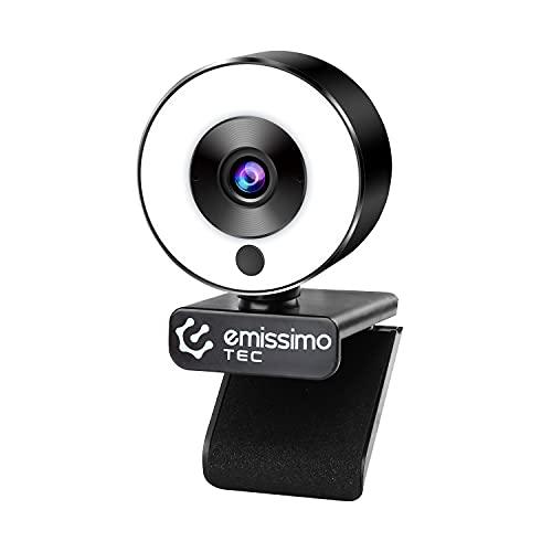 emissimo LightMe - Anillo de luz y micrófono integrado (Full HD, enfoque automático avanzado, 1080p)
