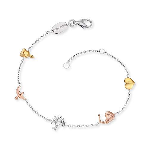 Engelsrufer Damen Armband Lebensbaumsymbole 925 Sterlingsilber Rhodium Gold ERB-LILTREE-TRICO