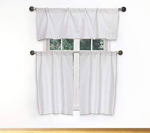 Vera Neumann Nakita Gardinen-Set mit Quaste, für kleine Fenster in der Küche, Café, Badewanne, Wäsche oder Schlafzimmer, 147,2 x 38,1 cm, Weiß/silberfarben