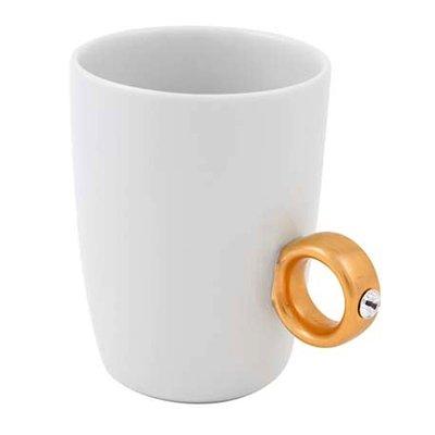 Invotis - Taza de café con asa con cristal de Swarovski (oro de 2 quilates)