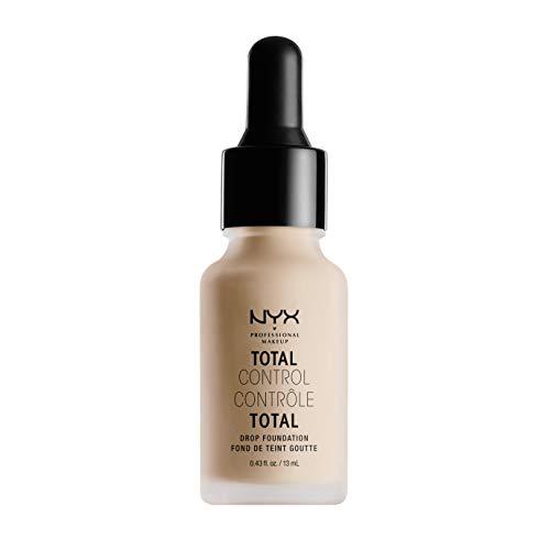 NYX Professional Makeup Total Control Drop Foundation, Präzise Dosierung, Aufbaubare Deckkraft, Langanhaltend, Vegane Formel, Mattes Finish, Farbton: Light Ivory