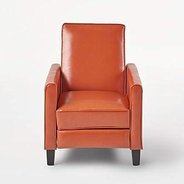 Great Deal Furniture Lucas Orange Leather Modern Sleek Recliner Club Chair