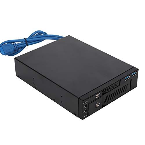 Kafuty Dual Bay SATA/SSD Rack móvil Caja de Rack de Caja HDD Doble Caja de extracción de Unidad de Disco Duro para bahía de Dispositivo de 2.5 Pulgadas/3.5 Pulgadas