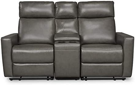 Best Homestyles by Flexsteel Nuova Leather Power Motion Reclining Console Love Seat
