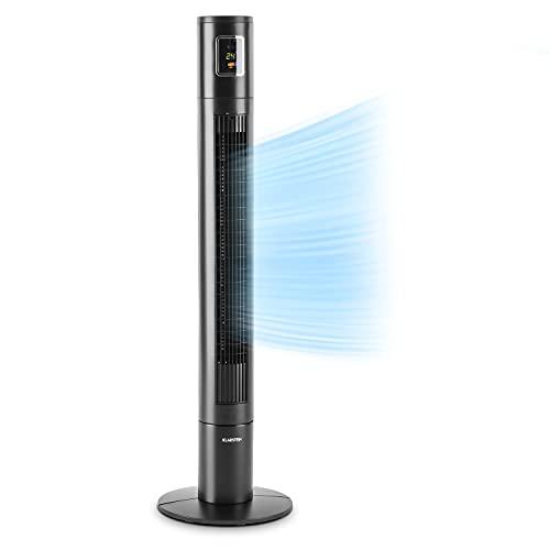 Klarstein Highwind – Ventilador de torre, 50 W de potencia, 3 velocidades, caudal de 1650 m³/h, oscilación de 90°, programable, mando a distancia, negro