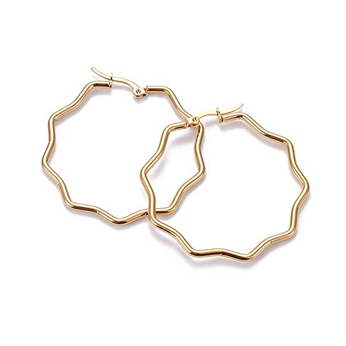 PandaHall Juego de 10 pares de aretes de aro de acero inoxidable con flores doradas, hipoalergénicos, para mujeres y niñas, 43,5 x 44 x 2 mm